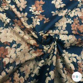Navy Floral - Flowers - Scuba Suede Puff - Polyester Stretch Dress Fabric - Dressmaking