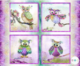 Boho Owls - Sassy Animals - Digital Printed Cotton Fabric Panel - by Connie Haley for 3 Wishes Fabric - Patchwork & Quilting