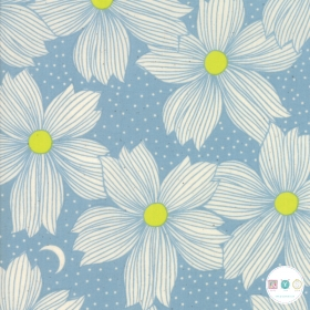 Ruby Star Society - Crescent - Blue Floral Cotton Fabric - by Sarah Watts for Moda Fabrics - Patchwork & Quilting
