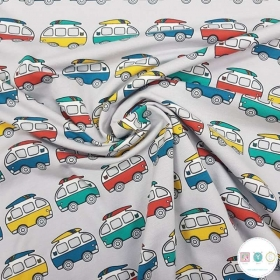 Campervan Jersey - Hippie Bus - Light Grey Knit Fabric - 200gr/m2 - Dressmaking