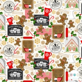Festive Gingerbread Men - Ecru Cotton - Noel - Christmas - Patchwork & Quilting