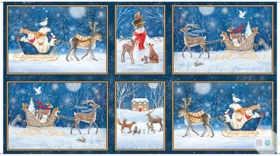 Christmas Woodland Dreams - Winter Vignette Patches Fabric Panel - Xmas - by Sarah Summers for Quilting Treasures