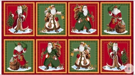 Vintage Santa Picture Panel - Sew and Go Fabric Panel - Traditional Father Christmas by Quilting Treasures