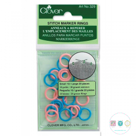 Clover Soft Stitch Markers - Pack of 30 - Small & Large - Art no. 329 - Knitting Tools & Accessory