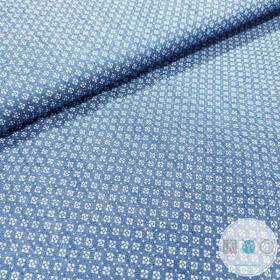 Chambray Dot In Square - Indigo Blue by Creative Solutions - Dressmaking Fabric