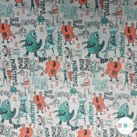 Dancing Monsters - Grey Cotton Jersey - Childrens Textiles - 240gr/m2 - Dressmaking Fabric