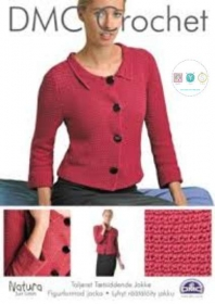 Cropped Tailor Jacket in DMC Natura Just Cotton - 15219L/2 - Crochet Pattern