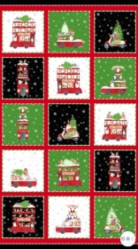 Double Decker Christmas - Xmas Fabric Panel - by Karen Tye Bentley for Northcott - Patchwork & Quilting