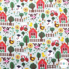 Farmyard Jersey - Farm Animals - Cotton Knit Fabric - 200gr/m2 - Childrens Textiles - Dressmaking
