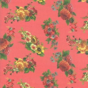 Pink Floral Quilting Fabric from the Flea Market Mix Collection by Cathe Holden for Moda Fabrics
