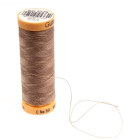 Gutermann Brown Thread G1225 - 100% Cotton - 50wt - Sewing Thread - All Purpose - Domestic