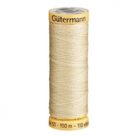 Gutermann Beige Thread G927 - 100% Cotton - 50wt - Sewing Thread - All Purpose - Domestic