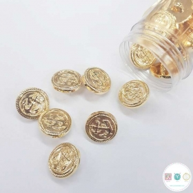 Gold Anchor Button - Plastic - Low Shank - 15mm - Haberdashery