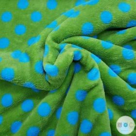 Green Blue Spots - Extra Cuddle Soft Minky Style - Fleece Druck Fabric