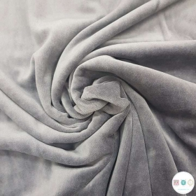 Grey - Supersoft - Nicky Velour - 253 gr/m2 - Dressmaking Fabric