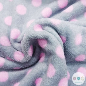 Grey and Pink Spots - Extra Cuddle Soft Minky Style - Fleece Druck Fabric