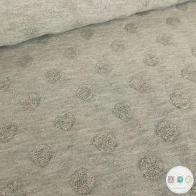 Grey Textured Spot - Jacquard Terry Jersey - Cotton Mix Fabric - Stenzo Textiles - Dressmaking