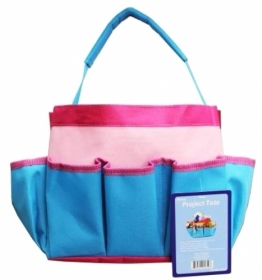 Pink & Turqoise Blue Project Craft Tote - Sewing Storage - Gift