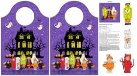 Happy Haunting Trick or Treat Halloween Bag - Cotton Fabric Panel by Deborah Edwards for Northcott