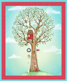 Tree House Fabric Panel - Hangin Out by Stacey Yacula for Quilting Treasures