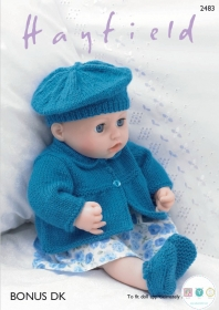 Knitted Dolls Clothes Pattern - fits Baby Annabell and Baby Born - Hayfield 2483 DK