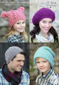 Knitted Aran Hat Pattern - 4 wool hat designs - Hayfield 7124