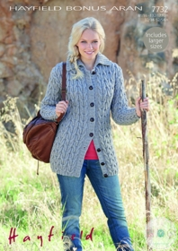 Ladies Aran Cardigan Knitting Pattern - Hayfield Bonus Aran 7732
