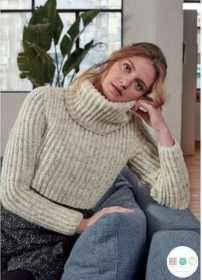 Ladies Cropped Sweater   - Hayfield Bonus 8209 - DK Knitting Pattern