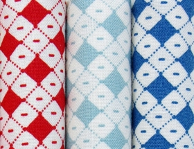 Blue Bias Checks - Hop, Skip and a Jump by American Jane for Moda Fabrics