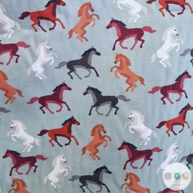 Horses on Pale Green - Cotton Poplin Fabric - by Rose & Hubble - Craft & Dressmaking