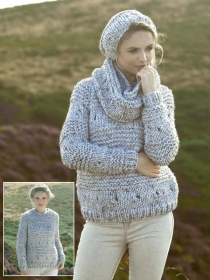 JC Brett Knitting Mega Chunky Sweater, Snood and Hat JB273