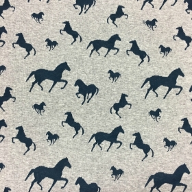 Horses Jacquard  - Marl Grey - Cotton/Poly Mix - Jersey Fabric - Dressmaking