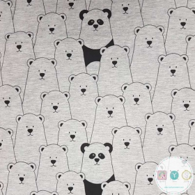Hide And Seek Bears - Grey - Cotton & Polyester Fabric - Childrens Jersey - Dressmaking