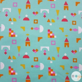 Shapes On Mint Green - French Terry - Cotton Jersey Fabric - Dressmaking Textiles