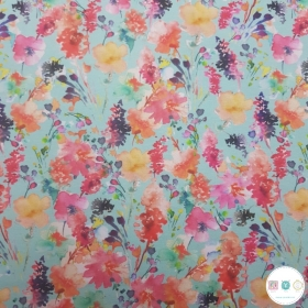 Aqua Blue Floral - Cotton Jersey - 200gr/m2 - Designed for you by Poppy - Oeko-tex - Dressmaking Fabric