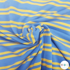 Blue & Mustard Yellow - Double Stripe - Cotton Stretch Jersey -220gr/m2 - Dressmaking Fabric