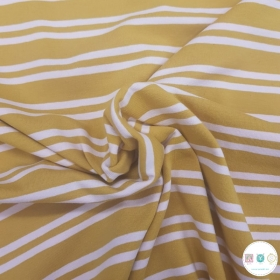 Mustard - Double Stripe - Cotton Stretch Jersey -220gr/m2 - Dressmaking Fabric