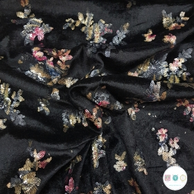 Black Floral Sequin Velour - Velvet - Polyester - Dressmaking Fabric