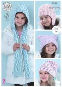 King Cole Yummy KC5438 - Childrens Hats Knitting Pattern