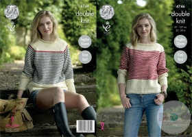 King Cole KC4746 - Raglan Sleeve Striped Sweater Knitting Pattern