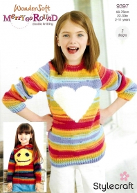 Knitting Pattern - Stylecraft 9397 Kids Sweater and Hoodie With Motif