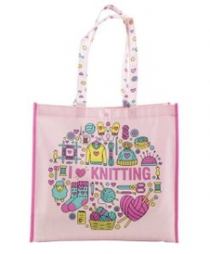 I Love Knitting Pink Eco Shopping Tote Bag