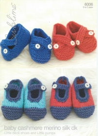 Sublime Baby Knitting Pattern:  Little Deck Shoes & Little Pumps 6006 - DK - by Sirdar