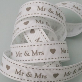 16mm Mr & Mrs Ribbon. Price per yard.