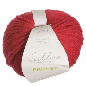 Sublime Yarn Phoebe by Sirdar - Lowry 535 Red - Wool Blend - Chunky