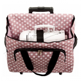 Sewing Machine Wheeled Trolley Rolly Bag in Mauve Polka Dot