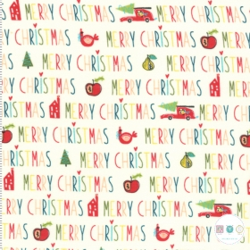 Oh What Fun - Xmas Fabric Panel - Merry Christmas Text - by Sandy Gervais for Moda Fabrics - Patchwork & Quilting