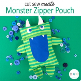 Monster Zipper Pouch Cut, Sew, Create Pre-Cut Panel - Childrens Creating Kit - Kits & Gifts