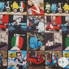 Moped - Pop Art - Motorcyle - Canvas Fabric - Ottoman Print - Upholstery - Heavy Weight - Bag Fabric - Canvas