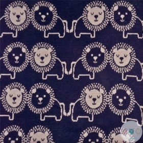Navy Blue Jacquard Jersey - Lions by Anneke - Childrens Sweatshirt Fabric - Dressmaking
